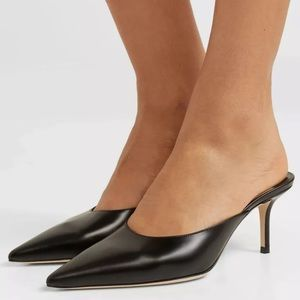 JIMMY CHOO Rav Glossy Leather Heel Mules Pumps